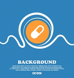 Pill icon sign blue and white abstract background vector