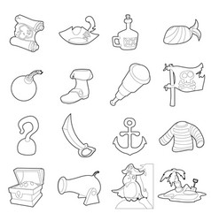 pirate culture symbols icons set outline style vector image