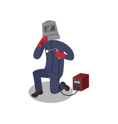 professional welder in protective mask and gloves vector image
