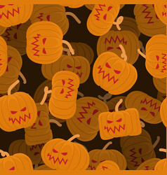 Pumpkin seamless pattern 3d halloween background vector