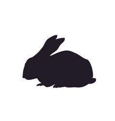 Rabbit sits silhouette vector