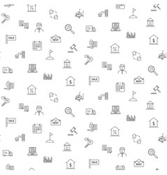 Real estate icon seamless monochrome pattern vector