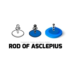 Rod of Asclepius icon in different style vector
