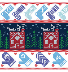 Scandinavian Nordic Christmas seamless pattern wit vector image