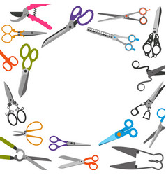 scissors with colored handles frame vector image