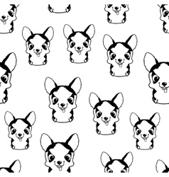 Seamless pattern with siberian husky puppies vector image