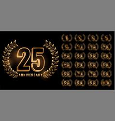 Set anniversary labels in golden color vector