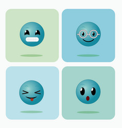 Set of emojis on squares icons vector
