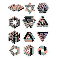 Set of icons geometric logo vector
