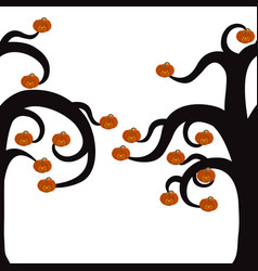 silhouette of a tree for halloween with burning vector image