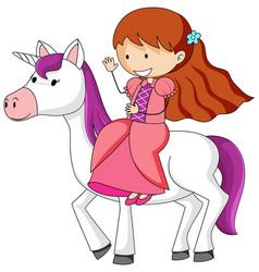 simple cartoon character a princess riding a vector image
