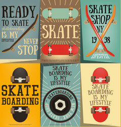 skateboard posters set vector image
