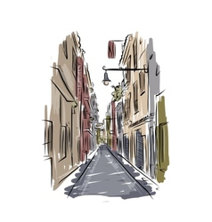 Sketch of old spanish street for your design vector