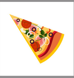 Slice of pizza with ham and tomatos street fast vector