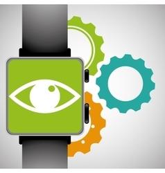 Smart watch eye gear wearable technology vector