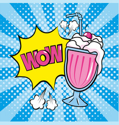 star with wow message and ice cream with cherry vector image