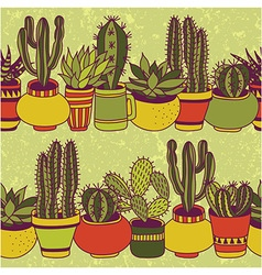 Succulents garden - seamless pattern vector image