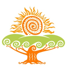 sun with tree vector image