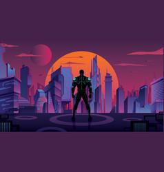 Superhero in futuristic city 2 vector
