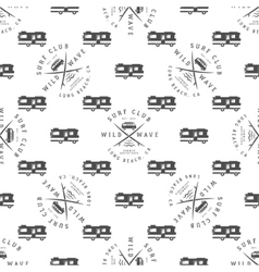 surfing seamless pattern with van vector image