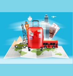 Travel bag vacation concept with red bag vector