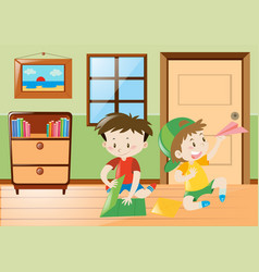 Two boys playing paper planes in room vector