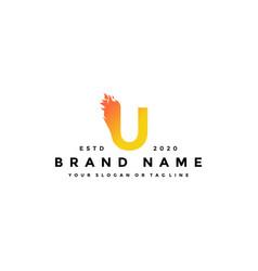 U letter logo fire design vector