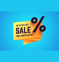 Up to 70 percent off sale time limited offer sign vector