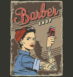 Vintage barbershop colorful poster vector