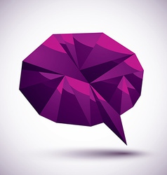Violet speech bubble geometric icon made in 3d vector