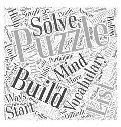 Vocabulary Mind Building Puzzles Word Cloud vector image