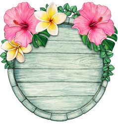 watercolor tropical wooden sign vector image