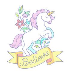 white unicorn emblem vector image
