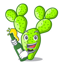 With beer cartoon the prickly pear opuntia cactus vector