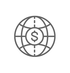 world with coin global cash money transfers vector image