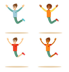 Young people jumping on white background set vector