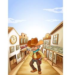An old man holding a gun near the saloon vector image vector image