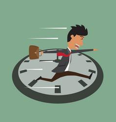 cartoon businessman running on clock jumps over vector image vector image