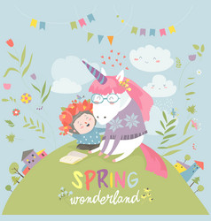 cute girl hugging unicorn spring wonderland vector image vector image