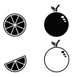 orange fruit icon set vector image