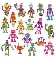 Set of Robots - Hand Drawn Doodles vector image vector image