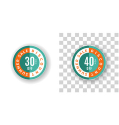 summer sale sticker 30 and 40 percent discount vector image