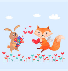 bunny with bouquet of flowers and fox with wings vector image