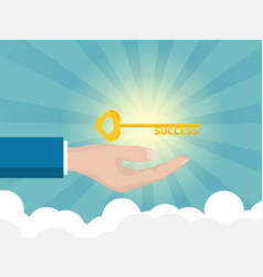 businessman hand holding golden key of success vector image vector image