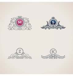 Calligraphic flourishes luxury monogram set Line vector image vector image