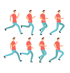 cartoon running man in casual clothes young male vector image