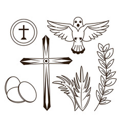 holy week icons vector image