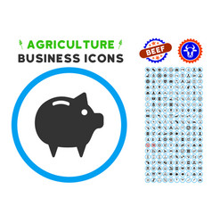piggy bank rounded icon with set vector image vector image