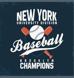 baseball new york vintage typography for t-shirt vector image