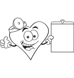 Cartoon heart holding a clip board vector image